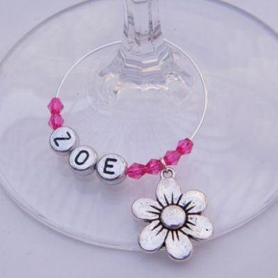 Daisy Flower Personalised Wine Glass Charm